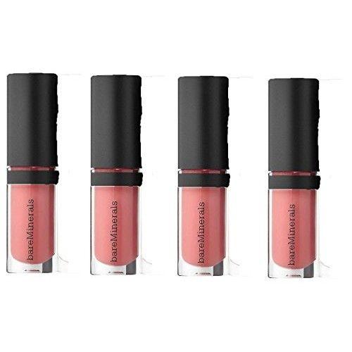bareMinerals Buxom Gen Nude Buttercream Brillant Lipgloss in Cosmic, Set of 4 & Make-up Bag