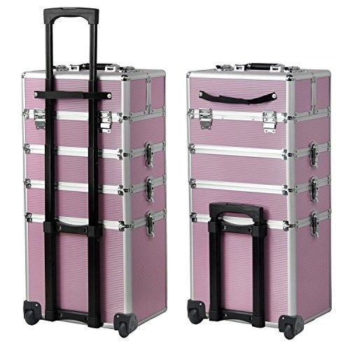 4-in-1 Aluminum Rolling Makeup Train Cases Trolley with 2-wheel and 2 Keys Professional Multi-function Artist Beauty Train Case Cosmetic Organizer Box Lift Handle Lock W/shoulder Straps