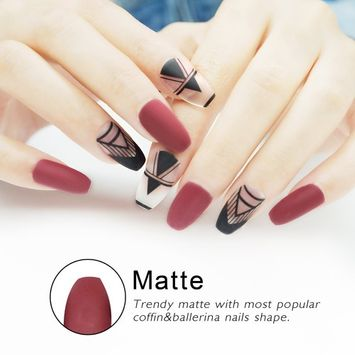 Coffin False Nails with Design Matte Nails 24 Pieces Full Cover Girls Ballerina Fake Nails [matte]
