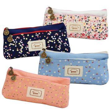 IPOW Flower Floral Canvas Pen Pencil Bag Lovely Cute Multifunctional Stationery Pouch Storage Bag with Double Zipper Makeup Cosmetic Case, 4 Pack