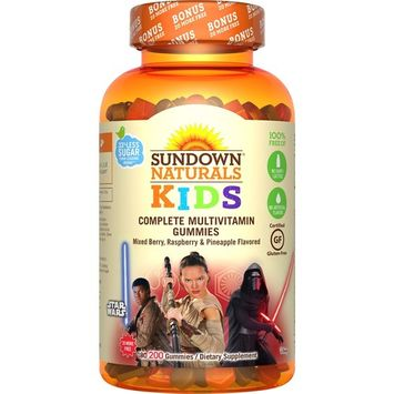 Sundown Naturals Kids Star Wars Complete Multivitamin Gummies, Berry Raspberry Pineapple, 200 Ct