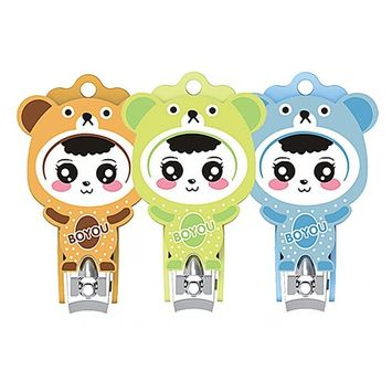 BOYOU Nail Clippers Specialized Cartoon Design for Children Infants Safe Fingernail Clipper Anti-Splash Cutters (855S)