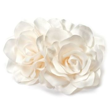 USABride Bridal Hair Flower, White or Ivory Two Rose Wedding Hair Comb 2082