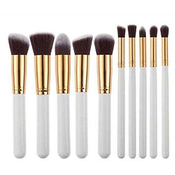Bolayu 10pcs Set Powder Foundation Eyeshadow Tool Makeup Brushes White