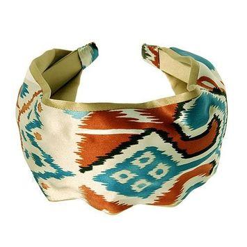 L. Erickson USA Printed Two-Tone Scarf Headband - Hot Safari/Silk Charmeuse G