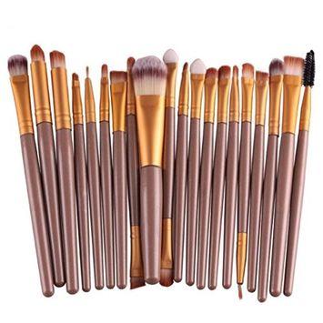 Bolayu 20 pcs/Set Makeup tools Make-up Toiletry Kit Wool Make Up Brush Set G