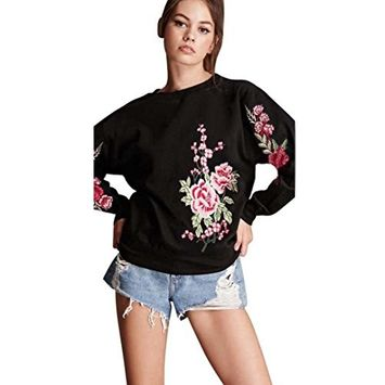 Womens Embroidery Applique Sweatshirt Pullover, Bolayu Long Sleeve Tops