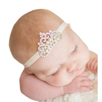 Bestpriceam Rown Hair Band Princess Baby Girl Crystal Pearl Crown Hairband (C)