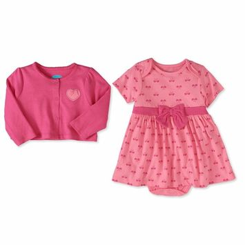 Baby Girl Cardigan & Short Sleeve Dress, 2pc Outfit Set