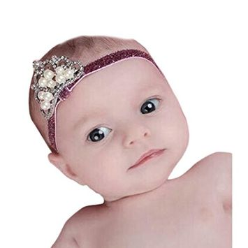 Bestpriceam Rown Hair Band Princess Baby Girl Crystal Pearl Crown Hairband [B]