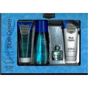 Blue Desire Gift Set 4 Pieces [3.4 Fl. oz. Eau De Parfum Spray +3.4 oz. Gel+.5 oz. Miniature +3.4 oz. Body Lotion] Women