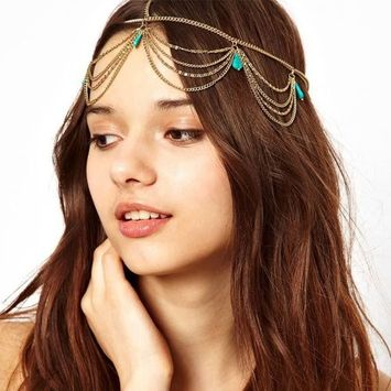 Bestpriceam Women Turquoise Tassel Chain Jewelry Hair Band Hair Headdress