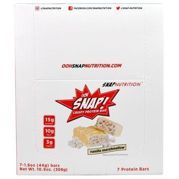 OOH Snap!, Crispy Protein Bar, Vanilla Marshmallow, 7 Bars, 1.6 oz (44 g) Each [Flavor : Vanilla Marshmallow]