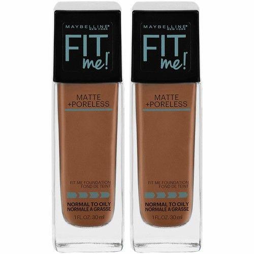 Maybelline Fit Me Matte + Poreless Liquid Foundation Makeup, Nutmeg, 2 COUNT Oil-Free Foundation