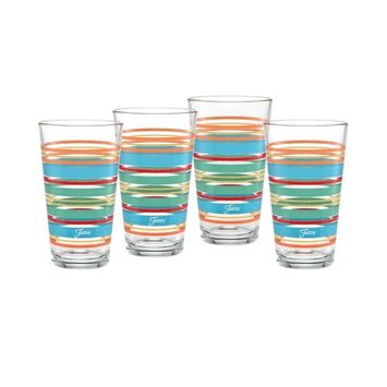 Rainbow Radiance Stripes 16-Ounce Tapered Cooler Glass Set of 4