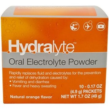 Hydralyte Oral Electrolyte Powder, Orange, 10 Ct
