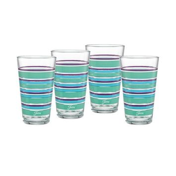 Farmhouse Chic Stripes 16-Ounce Tapered Cooler Glass Set of 4