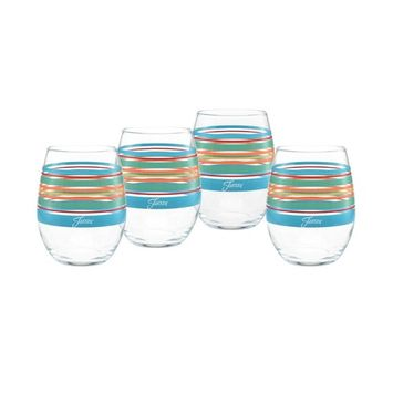 Rainbow Radiance Stripes 15-Ounce Stemless Wine Glass Set of 4
