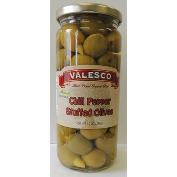 VALESCO Hot Chili Pepper Stuffed Green Olives in Jar, 17 Ounce
