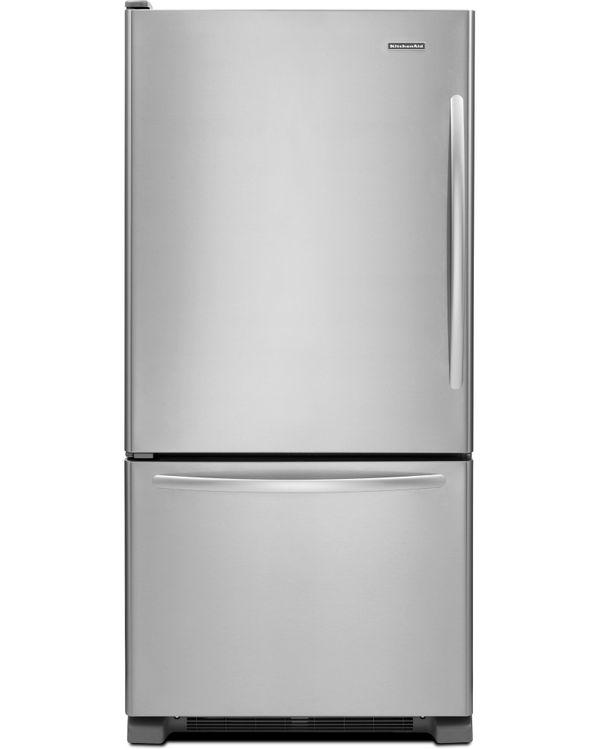 KitchenAid KBLS22KCMS Architect II 21.9 Cu. Ft. Stainless Steel Bottom Freezer Refrigerator - Energy Star