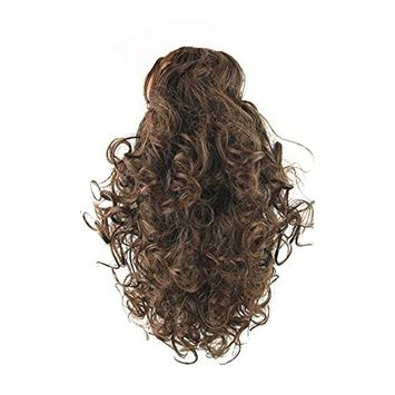 Drasawee Long Synthetic Wavy Curly Hair Piece Clip in Ponytail Hair Extensions 2#