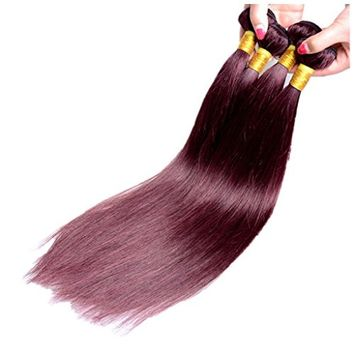 Drasawee Women's 100% Real Human Straight Virgin Hair Weft Bundles Wine Red 22