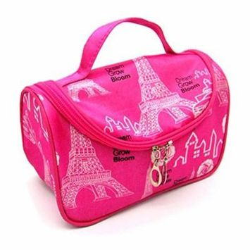 StylesILove Womens Compact Cosmetic Organizer Beauty Essential Makeup Bag (Eiffel Fuchsia)