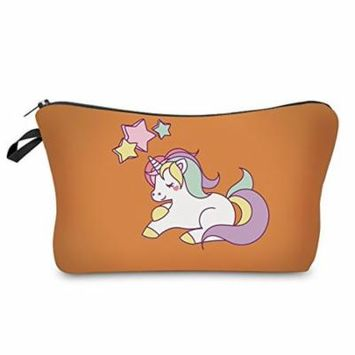 StylesILove Unique Unicorn Collection Pouch Travel Case Cosmetic Makeup Bag (Persimmon)