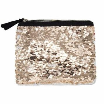 Womens Girls Flip Sequin Makeup Bag Reversible Mermaid Sequin Two Tone Sequin Cosmetic Case Multi-use Pouch (White+Peach)