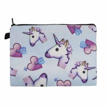 Womens Girls Stylish Unicorn Travel Cosmetic Case Makeup Bag Multi-use Pouch (Unicorns Blue)