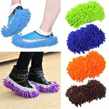 1 Pair Home Mop Sweep Floor Cleaning Duster Cloth Housework Soft Slipper,Blue