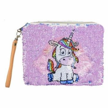 Women Girls Flip Mermaid Sequins Pouch with Wrist Strap Makeup Bag Reversible Tow-tone Cosmetic Case Multi-purpose (Purple Unicorn+Blue Rainbow)