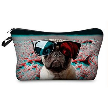 StylesILove Cute Graphic Pouch Travel Case Cosmetic Makeup Bag (Cosmo Pug Dog)