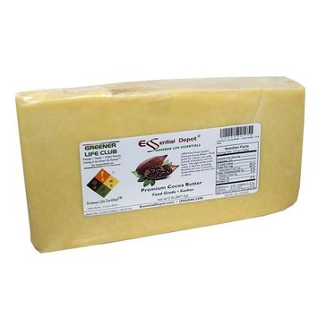 2lbs. Unrefined Premium Cocoa Butter - Food Grade - Kosher - Raw, 100% Pure with Natural Cocoa Scent - Used in Creams, Lotion Bars and Sticks, Lip Balms, Body Butters and many other skin care products