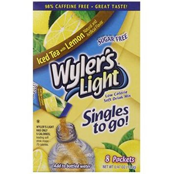 Wyler's Light Soft Drink Mix, Singles To Go Tea with Lemon, (Pack of 12)