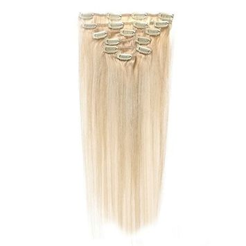 Royar Beauty Platinum Blonde Hair Extensions Real Clip in Full Head Hair Extentions(#60,20inch,125g)