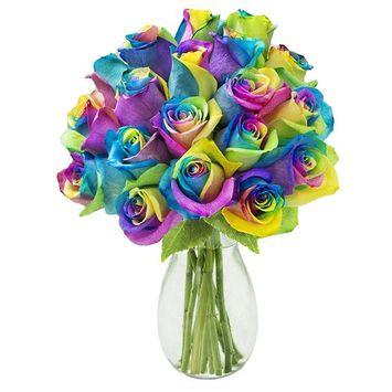 KaBloom Bouquet of 18 Fresh Rainbow Roses (Farm-Fresh, Long-Stem) with Vase