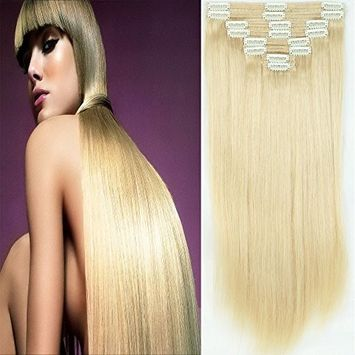 130g 16 Inch Double Weft Thick Silky Ash Blonde/Bleach Blonde Clip in 100% Real Remy Human Hair Extensions 8 Pieces 18 Clips #18/613 []