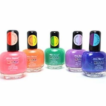 LOT OF 5 MIA SECRET MOOD COLOR CHANGING NAIL POLISH LACQUER MADE IN USA 5MIAMOOD + FREE EARRING by Mia Secret