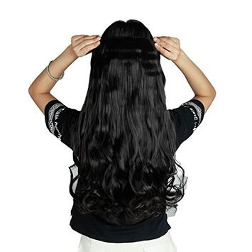 S-noilite Us Local Seller Natural Black 24 Inches Curly One Piece Clip in Hair Extensions (5 Clips) Clip Ins Hairpiece for Women Lady Girl