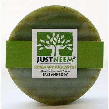 Neem Soap - Rosemary Eucalyptus - Face & Body - Glycerin, Coconut Oil & Neem - Relieve Dryness and Maintain Healthy Skin - 4.2 oz