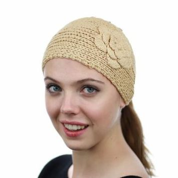 NYFASHION101 Hand Knitted Button Closure Winter Headband Headwrap - NAG11Y, Natural