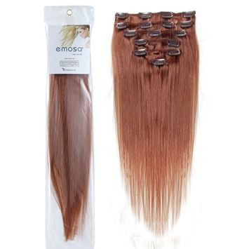 Emosa 100% Real Human Hair Full Head Silky Soft Remy Clip In Hair Extensions #30 Red Auburn (18inch,70g,7Pcs Set)