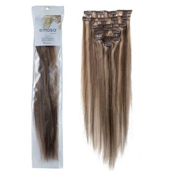Emosa Clips in Remy Human Hair Extensions for Women Beauty Hot Sale (#4/27-medium brown mixed with dark blonde)(8pcs 20inch)