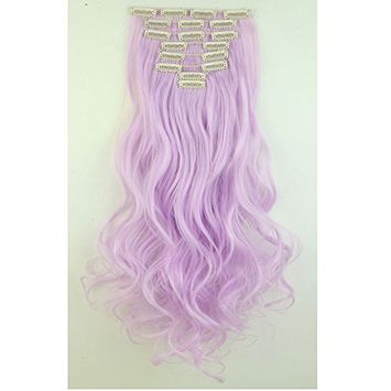 S-noilite®24 Inches Long Curly Wavy Light Purple Clip in on 8 Pieces Full Head Set Hair Extensions 8pcs Hairpiece Extension for Girl Lady Women
