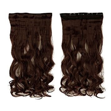S-noilite Dark Auburn 17 Inches Long Curly One Piece Clip in Hair Extensions (5 Clips) Clip Ins Hairpiece for Women Lady Girl