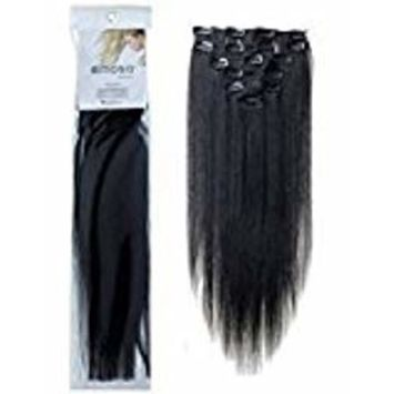 Emosa Silky Soft 100% Remy Human Hair Clips in Extensions Full Head(#1 Jet Black,15inch,70g)