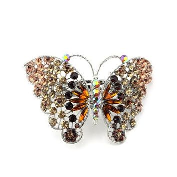 Women's Rhinestone Butterfly Barrette Clip Hair Pin Antique Silver IMB2126, Brown