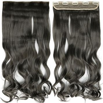 S-noilite Grey 24 Inches Long Curly One Piece Clip in Hair Extensions (3/4 Full Head) Clip Ins Hairpiece