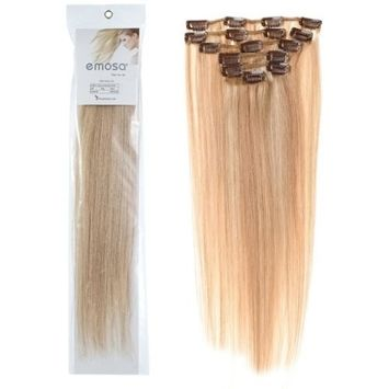 Emosa 8Pcs 90g 100% Real Full Head Remy Human Hair Clip In Extensions #18/613 Honey Blonde with Bleach Blonde Silky Soft